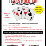 First Annual Fundraising Poker Event  – Texas Hold 'Em Tournament – August 22, 2015